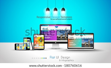 Modern devices mockups fpr your business projects. webtemplates included. - stock vector