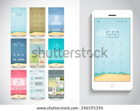 Modern different UI, UX and GUI template layout including Home, Calling, Weather, Calendar, Music Player, Messaging (Chat) and Album Gallery Screens for E-commerce Responsive Website and Mobile Apps. - stock vector