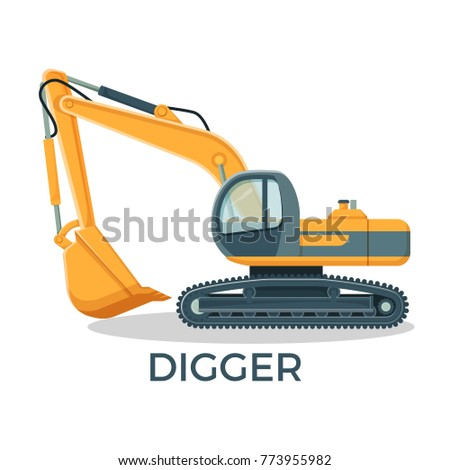 Modern digger with round cabbint and huge ladle