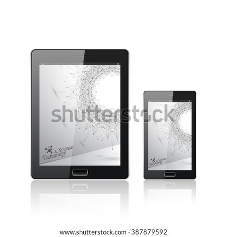 Modern digital tablet PC with mobile smartphone isolated on the white. Molecule and communication background. Science concept. Vector Illustration. - stock vector