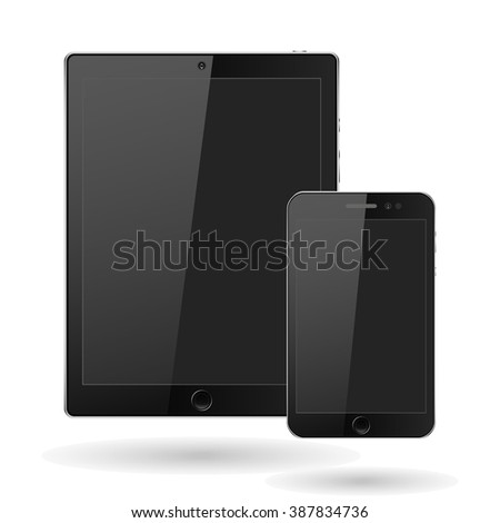 Modern digital tablet  PC with mobile smartphone isolated on white. Vector EPS10