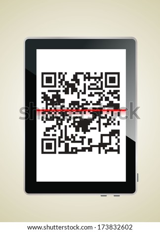 Modern digital tablet showing quick response code pattern scanner on the screen. - stock vector