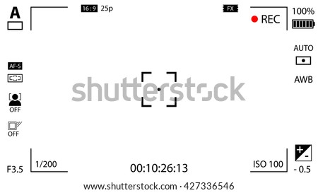 Modern digital video camera focusing screen with settings. White viewfinder camera recording. Vector illustration - stock vector