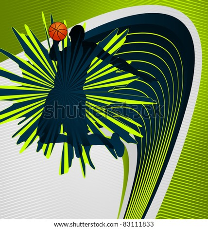Modern dynamic designed sport vector background. Basketball Player. - stock vector