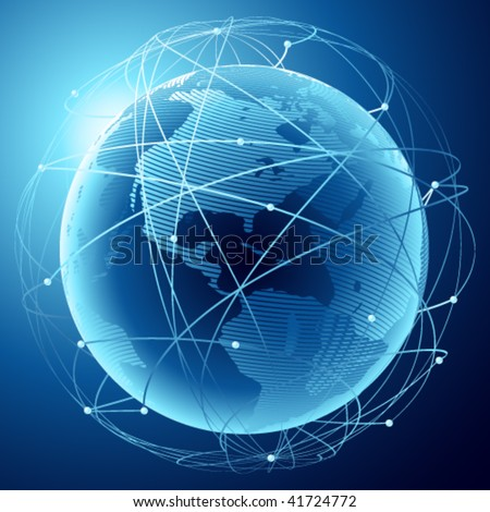 Modern earth in a web of satellites - stock vector