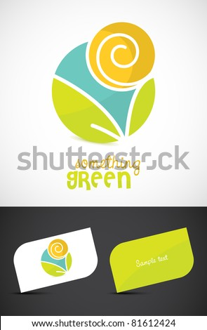 Modern eco-sun and leaves icon such logo and business cards, ESP10 vector. - stock vector