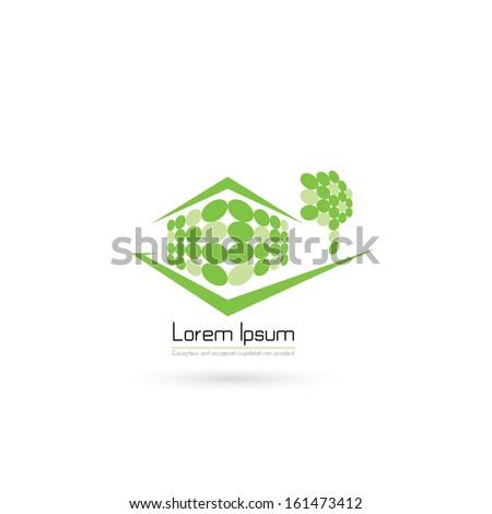 Modern ecological house symbol - vector illustration - stock vector