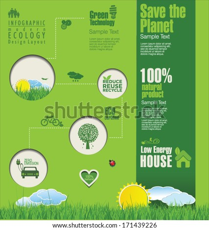 Modern ecology template design - stock vector