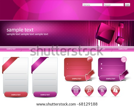 Modern editable website business template - stock vector