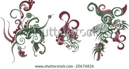 modern edition of ancient South American ornament - stock vector