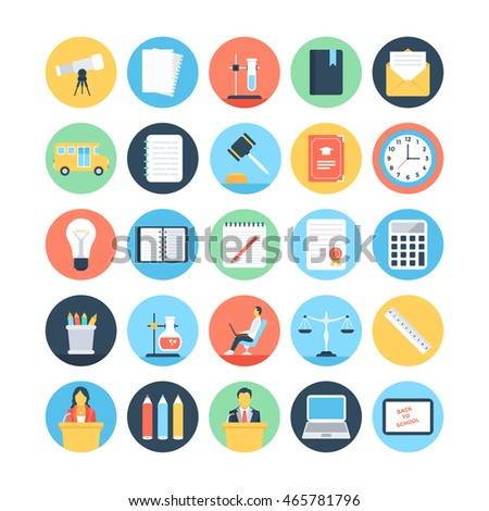Modern Education and Knowledge Colored Vector Icons 4