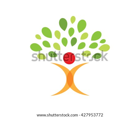 Modern Education Logo - Future Life Tree Symbol - stock vector