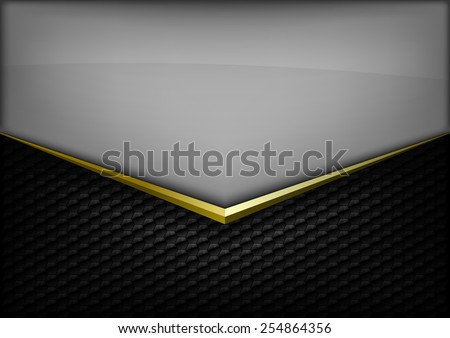 Modern elegant layout. Gold arrow between gray and black spaces. Version without sample text. You can find version with sample text in my gallery. - stock vector