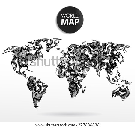 Modern elements of info graphics. Octopus World Map - stock vector
