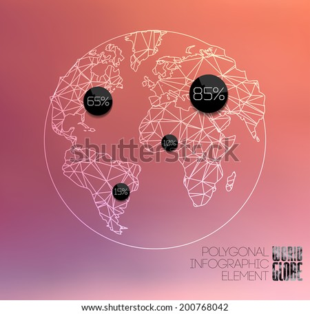 Modern elements of info graphics. Thin line polygonal World globe - stock vector
