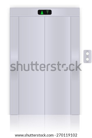Modern elevator with closed doors. Vector Illustration isolated on white background. - stock vector