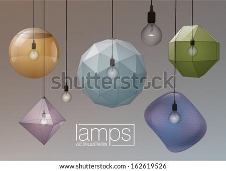 modern exclusive hanging lamp - stock vector