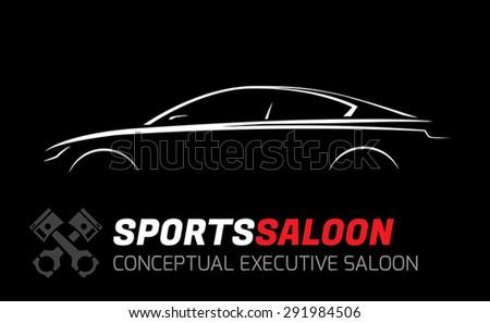 Modern Executive Sports Saloon Silhouette Concept - stock vector