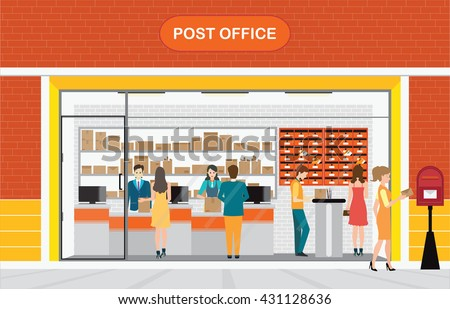 modern exterior and interior of post office building with counter service and post box with customer boxed ice office exterior