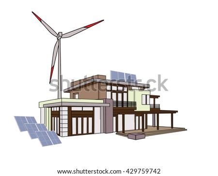 Modern family house with solar panels and wind turbines - stock vector