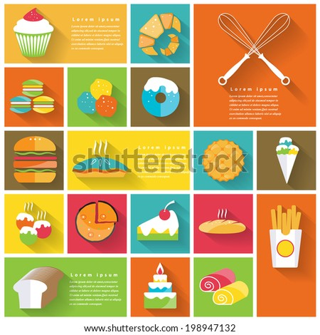 Modern fast food colorful  flat icons with long shadow .Vector Design - stock vector