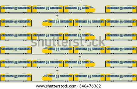 Modern fast trains vector seamless pattern. Trains vector illustration on white background. Trains icons or silhouette isolated seamless pattern. Modern city trains vector on railway. Travel by trains - stock vector