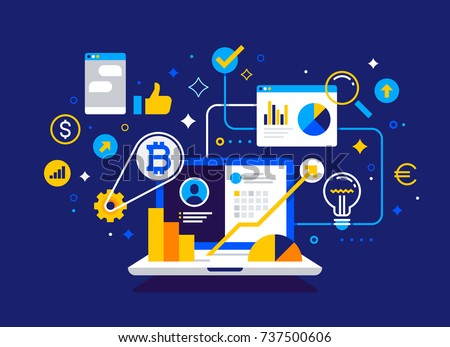 Modern financial concept. Business, finance and trading. Bitcoin mining farm. Crypto currency. Vector banner.