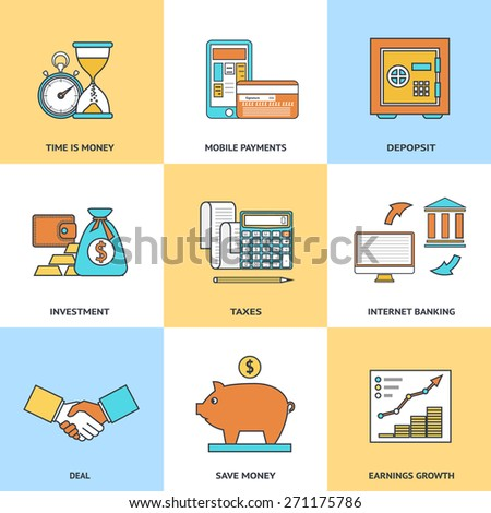 Modern financial line icons set in flat design for web site development, mobile applications, banners, corporate brochures, book covers, layouts etc. Vector eps10 illustration - stock vector