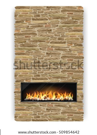 fireplace and chimney. Modern fireplace with chimney decorated the natural stone  Fireplace Chimney Decorated Natural Stone Stock Vector