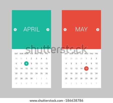 Modern Flat Calendar - stock vector