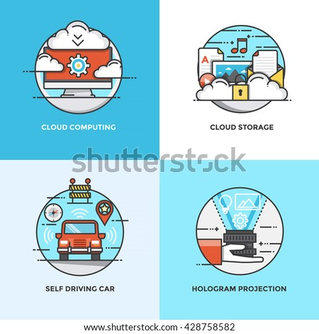 Modern flat color line designed concepts icons for Cloud Computing, Cluud Storage, Self driving car and Hologram Projection. Can be used for Web Project and Applications. Vector Illustration - stock vector