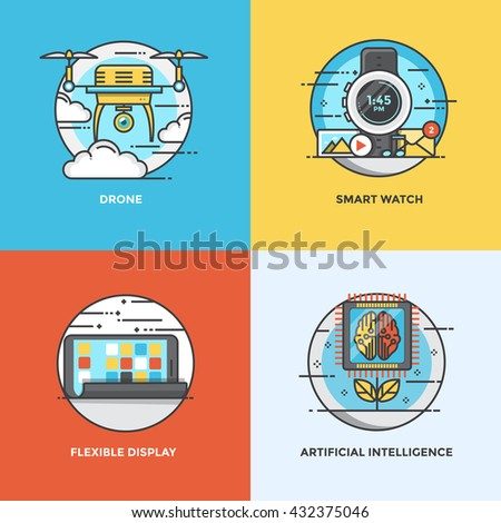 Modern flat color line designed concepts icons for Drone, Smart Watch, Flexible Display and Artificial Intelligence. Vector Illustration - stock vector