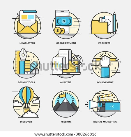 Modern flat color line designed concepts icons for Newsletter, Mobile Payment, Projects, Design tools, Analysis, Achievement, Discover, Digital marketing. Can be used for Web Project and Applications - stock vector