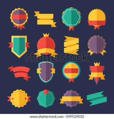 Modern flat design badges collection. Vector badges flat modern style. Vintage, retro flat badges, labels and ribbons. Badges isolated, modern flat solid style. Badges icons, badges logo. Badges icons - stock vector