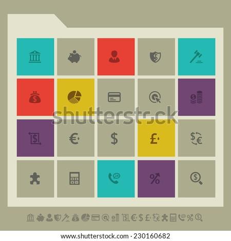 Modern flat design banking icons - stock vector
