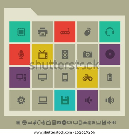 Modern flat design computer icons - stock vector