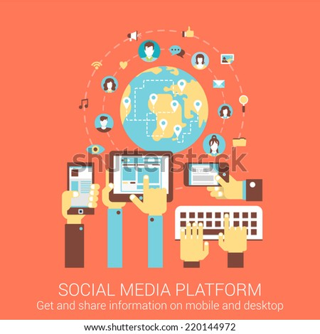 Modern flat design concept for social media platform worldwide people connection tablet smart phone pc vector web banners illustration print materials website click infographics elements collection - stock vector