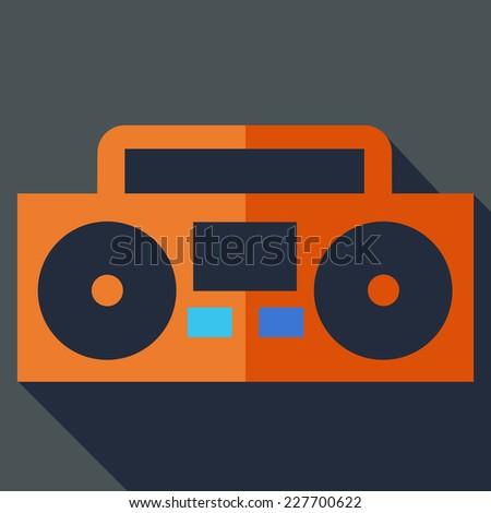 Modern flat design concept icon. Boom box, tape recorder. Vector illustration. - stock vector