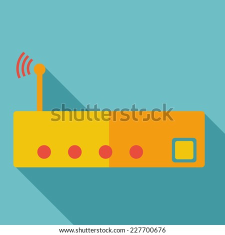 Modern flat design concept icon Wi-Fi router Wireless. Vector illustration. - stock vector
