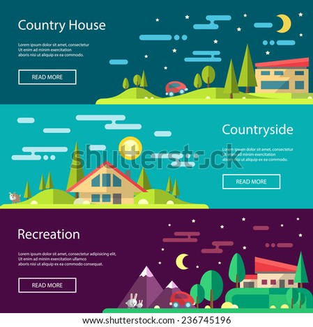 Modern flat design conceptual vector landscape illustrations with buildings - stock vector