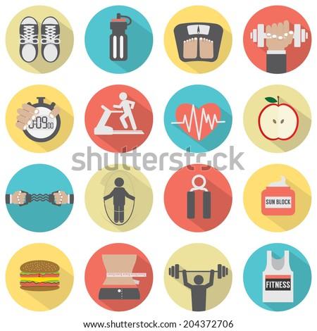 Modern Flat Design Fitness icon Set - stock vector