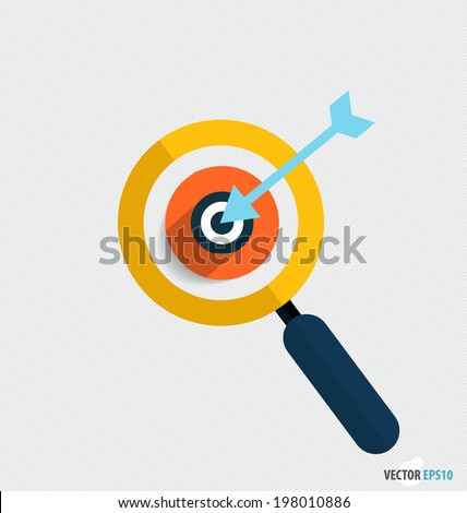 Modern Flat design icon vector illustration. Business working elements for web design, business, finance, e-commerce, seo optimizations, mobile applications, social networks. (Magnifier and dartboard) - stock vector