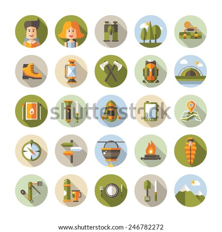 Modern flat design illustration of camping and hiking info graphic vector elements - stock vector