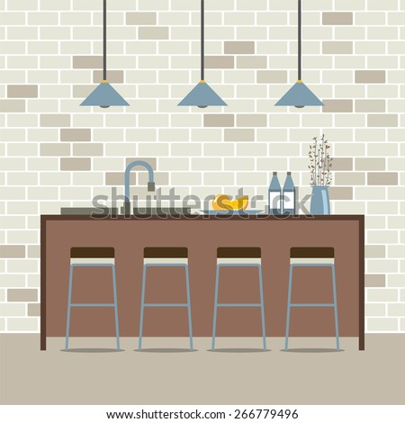 Modern Flat Design Kitchen Interior Vector Illustration - stock vector