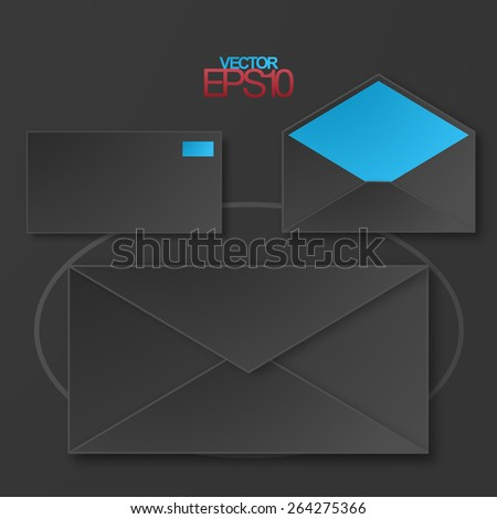 Modern flat design mails with drop shadows . Vector icon set - stock vector