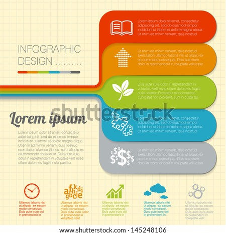 Modern flat design minimal infographic structure vector template. - stock vector