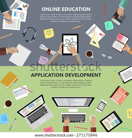 Modern flat design online education and app development concept  for e-business, web sites, mobile applications, banners, corporate brochures, book covers, layouts etc. Vector eps10 illustration - stock vector