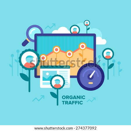 Modern flat design style illustration of driving organic traffic, increasing customers visits number, successful blogging, SEO, online marketing. Concept of getting organic traffic on a website - stock vector