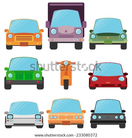 Modern Flat Design Symbols Stylish Retro Car Icons - stock vector