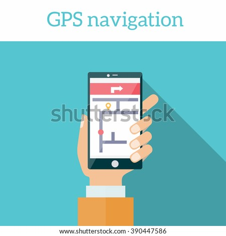 Modern flat design vector illustration concept of man holding smartphone with mobile gps navigation on a screen  - stock vector